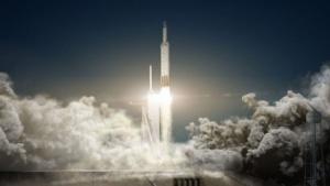 Künstlerische Darstellung des Starts der Falcon Heavy:  ... wenn die Rakete nicht explodiert.