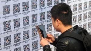 Wechat-QR-Codes auf einer Jobbörse in der chinesischen Stadt Taiyuan