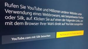 Dieser Hinweis kommt beim Aufruf der Youtube-App auf dem Fire TV.