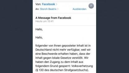 Facebook entfernte einen Beitrag der AfD-Politikerin Beatrix von Storch.