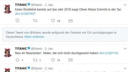 Twitter sperrt einen Titanic-Beitrag in Deutschland.