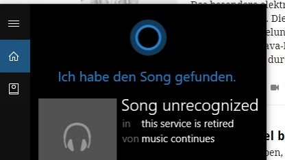Cortana erkennt keine Lieder mehr.