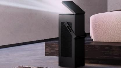 Der LG-Beamer kann auch hochkant aufgestellt werden.