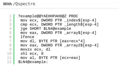 Beispielcode, der mit dem Spectre-Schutz erstellt worden ist.