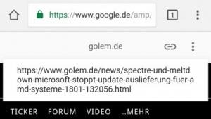 Statt der Quell-URL zeigt der AMP-Cache eine Google-URL in der URL-Zeile des Browsers.