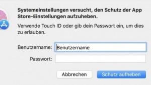 Passwortabfrage für die App-Store-Einstellungen