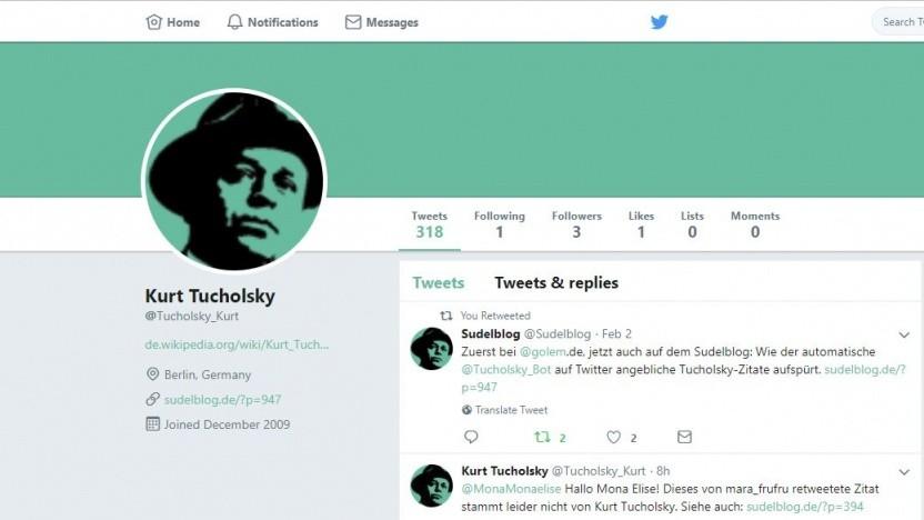 Rüffelt Tweets mit falschen Zitaten: der Kurt-Tucholsky-Bot