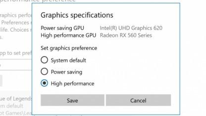 GPU-Umschalter der Insider Preview 17093