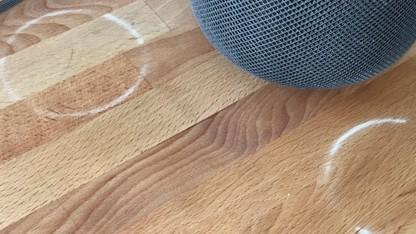 Homepod hinterlässt Ringe auf Holz.