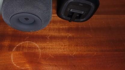 Abdruck vom Homepod (links) und vom Sonos One