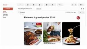 AMP für Gmail am Beispiel einer E-Mail von Pinterest