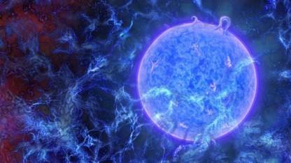 Künstlerische Darstellung eines frühen Sterns: Schwankung in der kosmischen Hintergrundstrahlung.