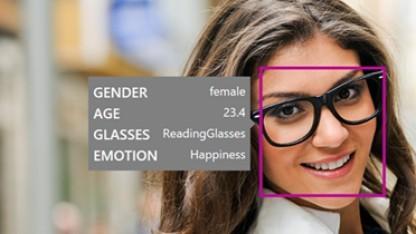 Die Face API erkennt Gesichtsausdrücke, Geschlecht und Alter.