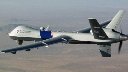 Eine MQ-9-Reaper-Drohne des US-Grenzschutzes. Ähnliche Modelle fliegen auch im Kampfeinsatz.