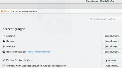 Firefox 59 bringt detaillierte Einstellungen für gesetzte Berechtigungen.