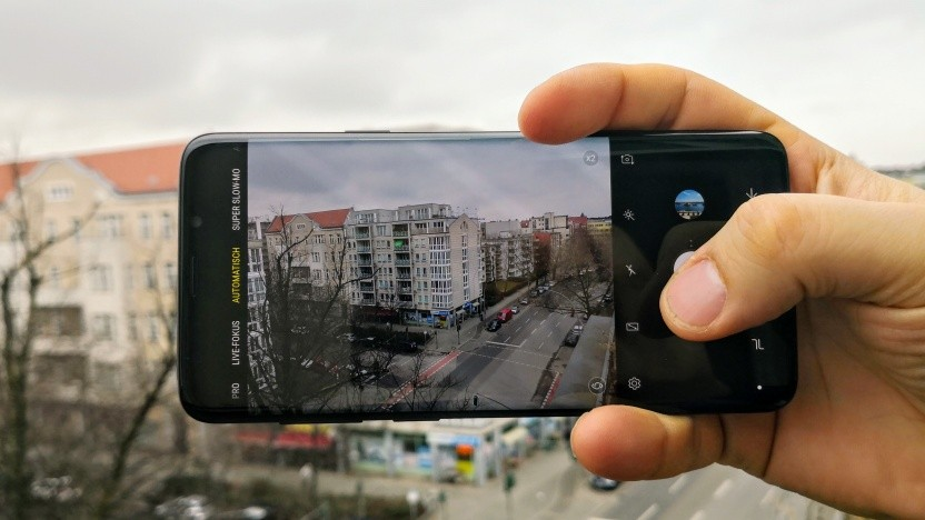 Das Galaxy S9+ von Samsung bei der Aufnahme