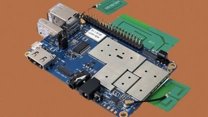 Der Orange Pi 4G-IOT kommt mit vielen Sensoren und Antennen.