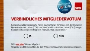 Der Stimmzettel für den SPD-Mitgliederentscheid