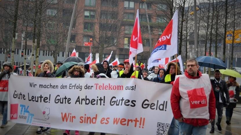 Foto: Auch in Dortmund streikten diese Woche viele Beschäftigte der Deutschen Telekom