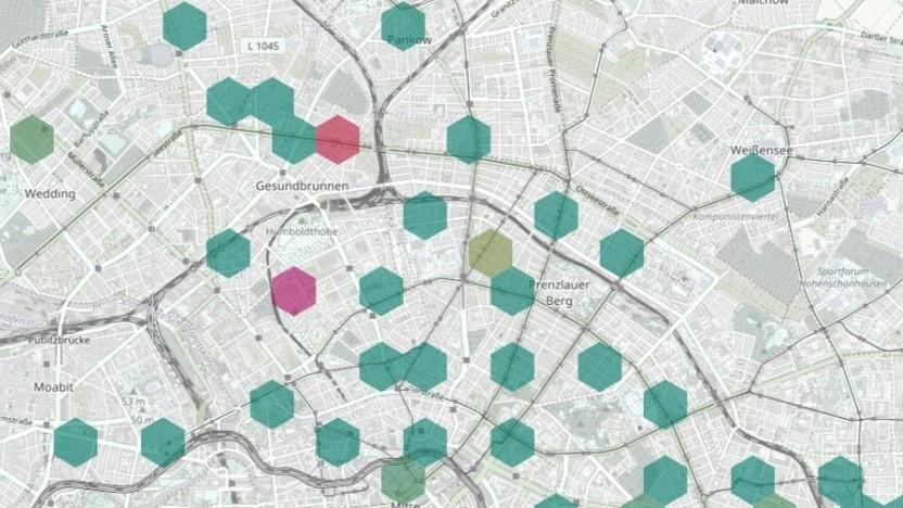 Feinstaubmessungen des Projekts luftdaten.info