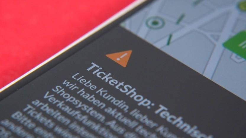 Die Ticketshop-Funktion in der VRR-App ist ausgefallen.