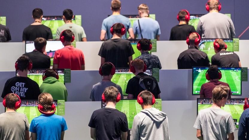Fifa-18-Spieler auf der Gamescom im August 2018.