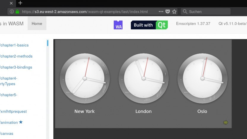 Qt läuft dank Webassembly auch im Browser.