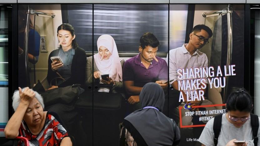 Werbung gegen die Verbreitung von Fake-News in Malaysia