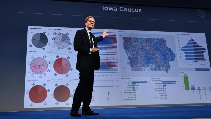 Vertreter von Cambridge Analytica stellt im Jahr 2016 Wählerdaten auf einer Tagung in New York vor.