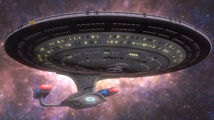 In Star Trek - Bridge Crew: The Next Generation fliegt die Enterprise NCC-1701-D durchs All.