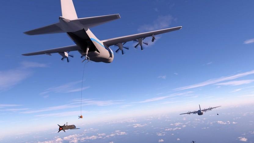 Transportmaschine Hercules sammelt Drohne ein: ähnlich wie Betanken in der Luft