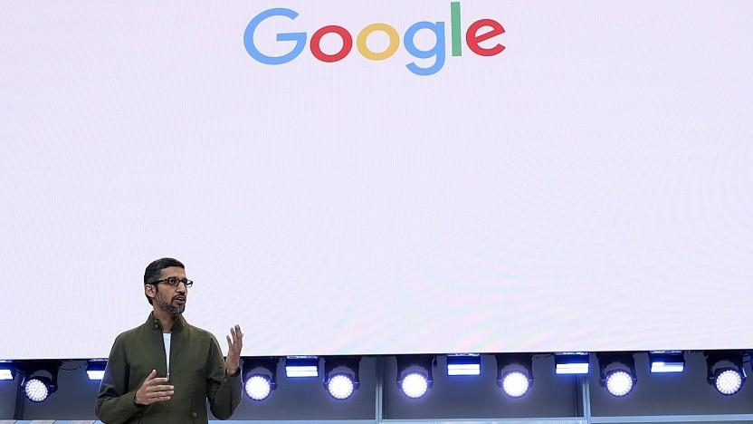Google-CEO Sundar Pichai zeigt Duplex auf der Google /IO.