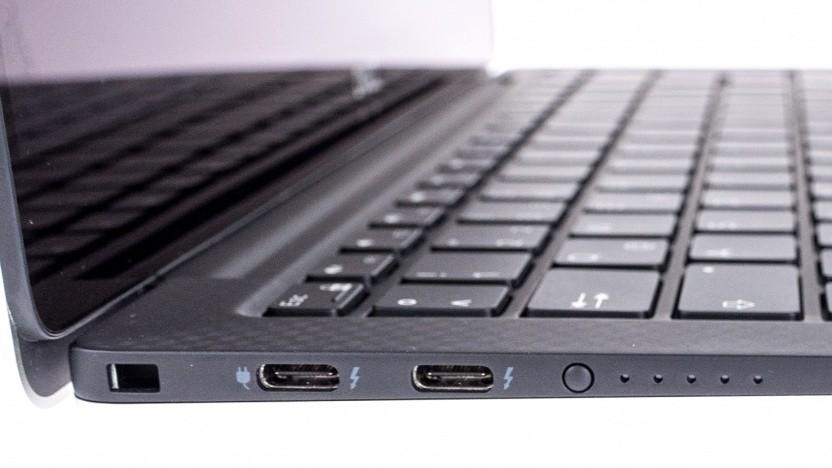 Thunderbolt 3, wie hier an Dells XPS 13 (9370), ermöglicht ein lokales Netzwerk.