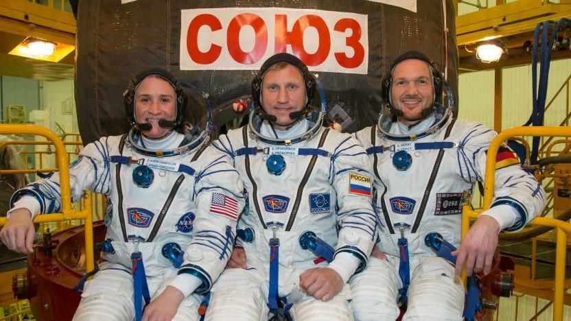 Die Crew der ISS Mission 58 vor dem Start