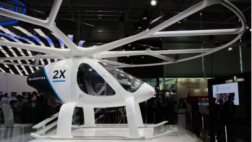 In Halle 13, am Stand von Intel, steht der Volocopter.