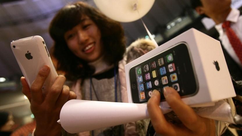 Szene vom ursprünglichen Verkaufsstart des iPhone 3GS im Jahr 2009 in Seoul