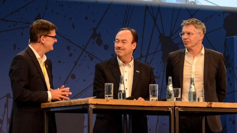 Lauter lächelnde Gesichter: Messe-Vorstand Frese, HPE-Chef Meyer und Bitkom-Chef Rohleder (v.l.) sind zufrieden.