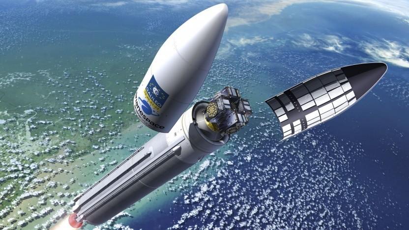 Galileo-Satelliten auf einer Ariane-5-Rakete (Symbolbild): kein Zugang zum verschlüsselten Dienst