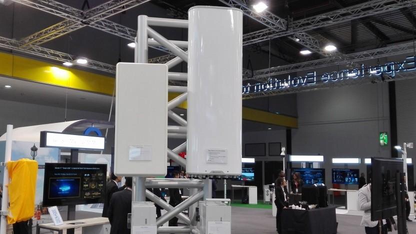 5G-Antennen von Huawei auf einer Messe
