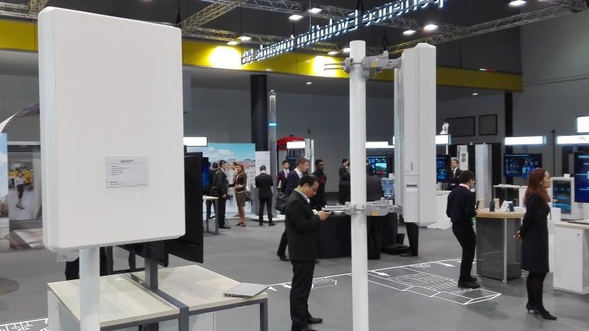 5G-Antennen von Huawei auf einer Messe im November 2017