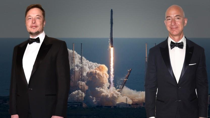 """Elon Musk (l.) vs. Jezz Bezos: """"Eigentlich dürfte es ja gar keinen Streit geben."""""""