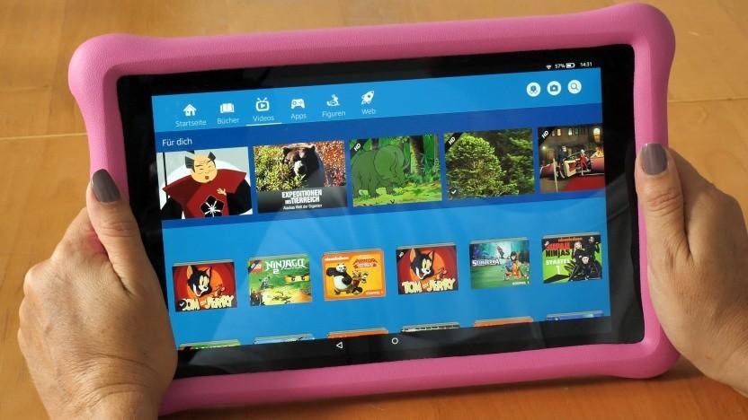 Amazons Fire HD 10 Kids Edition hat einen Gummischutz.