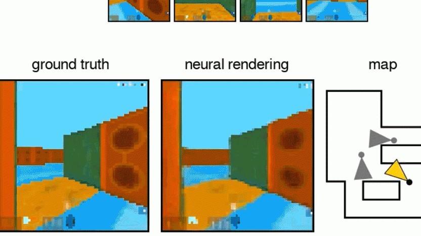 Deepminds KI kann unbekannte Bereiche in Szenen vervollständigen.
