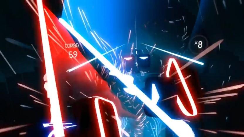 In Beat Saber haben Spieler zwei Lichtschwerter.
