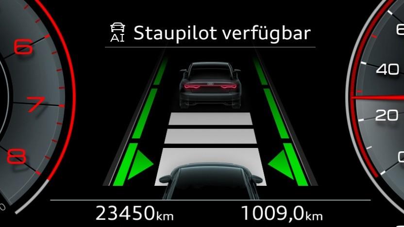 Staupilot verfügbar: Was die Anzeige verspricht, kann Audi noch nicht halten.