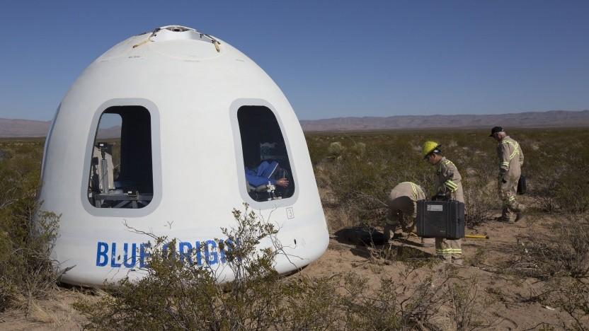 Die Kapsel der New Shepard bietet den Touristen große Fenster.