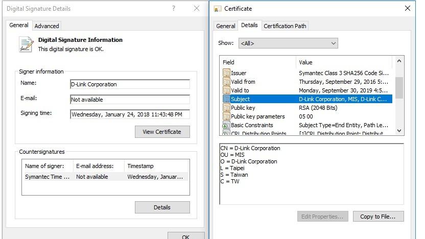 D-Link-Zertifikat, das zum Signieren der Plead-Malware missbraucht wurde.
