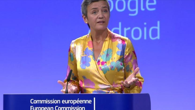 EU-Wettbewerbskommissarin Margarethe Vestager verteidigt die Kartellstrafe gegen Google.