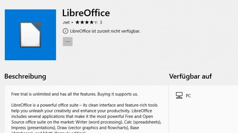 Im Microsoft-Store befand sich eine gefälschte Libreoffice-Version.