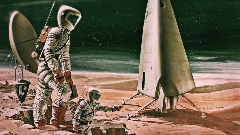 Künstlerische Darstellung einer Marslandung aus dem Jahr 1964: Atombomben auf die Polkappen